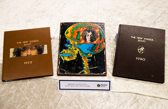 Diaries of John Lennon from the years 1975, 1979 and 1980 were some of the items recovered by German police. (AP Photo/Markus Schreiber)
