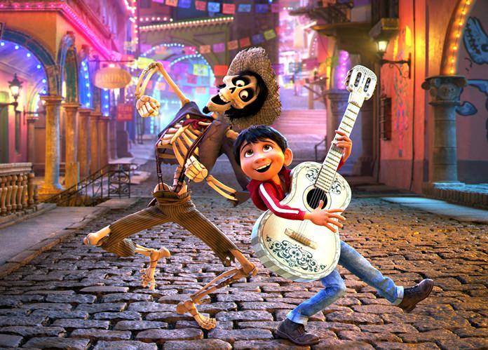 "In this image released by Disney-Pixar, character Hector, voiced by Gael Garcia Bernal (left) and Miguel, voiced by Anthony Gonzalez, appear in a scene from the animated film, ""Coco."" (Disney-Pixar via AP)"