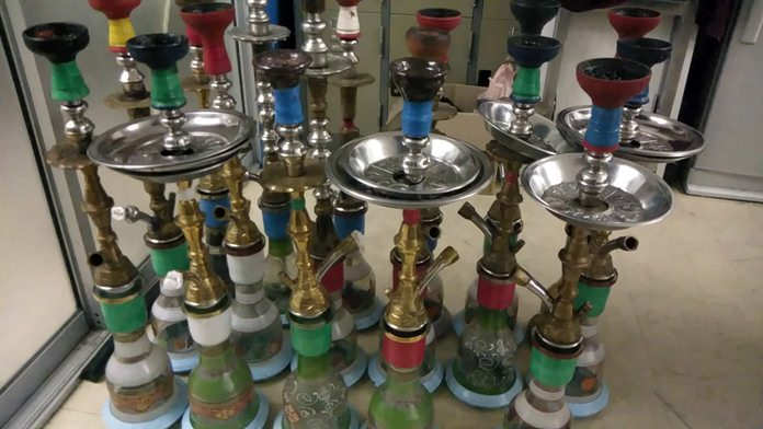 Authorities arrested a Myanmar with 17 shisha pipes and 6.7 kilograms of flavored, untaxed tobacco.