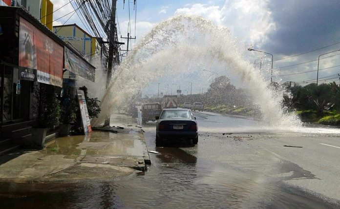 A careless contractor caused a geyser to shoot into the sky on Sukhumvit Road after drilling punctured a water main.