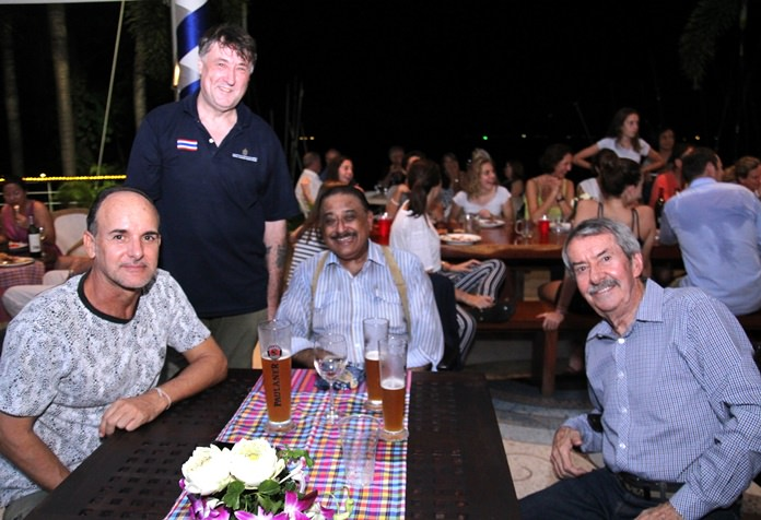 From left: Capital TV's Les Nyerges, Royal Varuna Yacht Club General Manager Baz Osborne, Pattaya Mail Media MD, Peter Malhotra and former RVYC Commodore and sailing author Peter Cummins enjoy the atmosphere at the party.