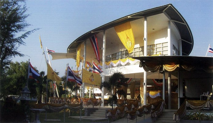 The modern uniquely styled clubhouse is shown fully decorated on opening day in 2004