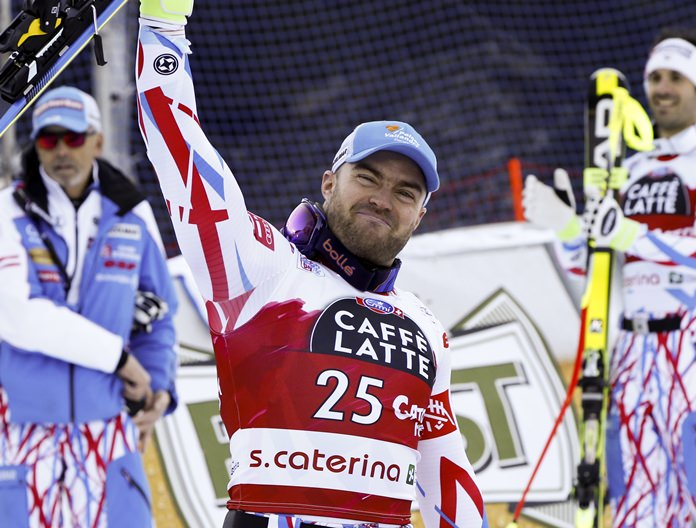 French downhill skier David Poisson is shown in this Dec. 29, 2015 file photo. (AP Photo/Alessandro Trovati)