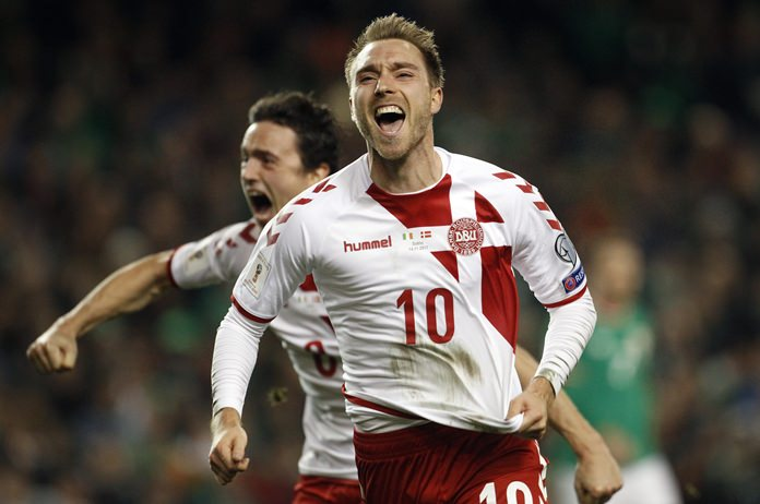 Denmark's Christian Eriksen celebrates after scoring his side's third goal during the World Cup qualifying play off second leg match against Ireland at the Aviva Stadium in Dublin, Ireland, Tuesday, Nov. 14. (AP Photo/Peter Morrison)