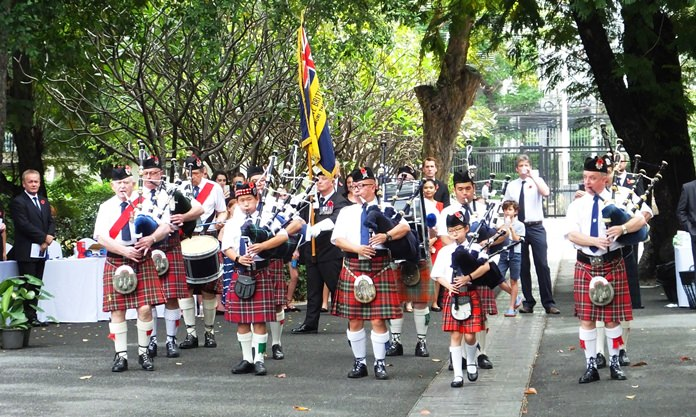 The Pipes & Drums of the British Club Bangkok.