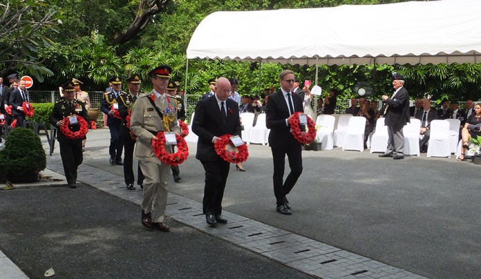 Wreaths were laid by (L to R) Defence Attaché Colonel Roger Lewis, British Legion President Graham Macdonald, and British Ambassador H.E. Brian Davidson.