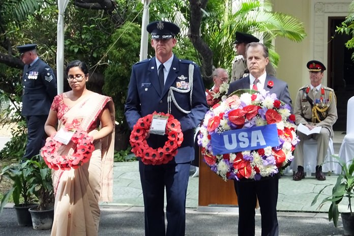 A representative of the Indian Embassy, and the USA Ambassador H.E. Glyn T Davies, with defence attaché.