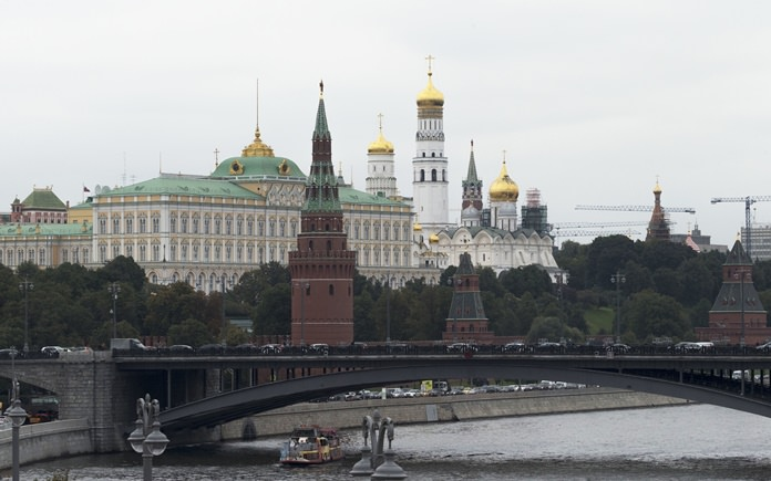 This Sept. 29, 2017 photo shows the Kremlin in Moscow. Scores of U.S. diplomatic, military and government figures were not told about Russia-linked attempts to hack into their emails, even though the FBI knew they were in Moscow's crosshairs, The Associated Press has learned. (AP Photo/Ivan Sekretarev, File)