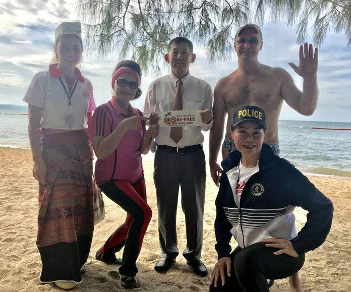 Mayor Anan Charoenchasri, city council members and Marine Department officials kicked off a public-relations campaign about Thailand's new law banning smoking on the beach.
