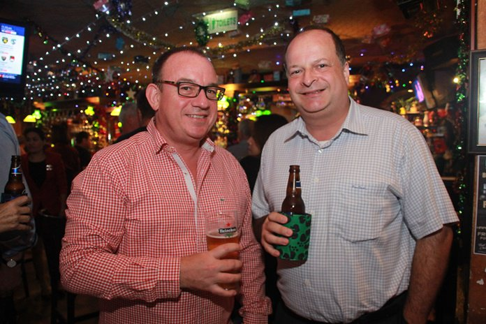 Mark Bowling, Chairman of BCCT Eastern Seaboard with Greg Watkins, Executive Director of BCCT seem pleased with the attendance at Jamesons.