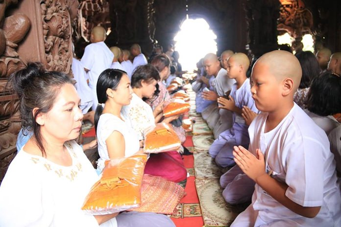 Novice monks are ordained at the Sanctuary of Truth during their 5 Religions ceremony.