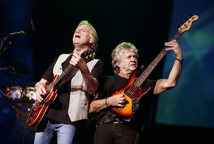 Guitarist Justin Hayward, left, and bassist John Lodge of The Moody Blues are shown performing in this Aug. 20, 2009, file photo. (AP Photo/Jason DeCrow)
