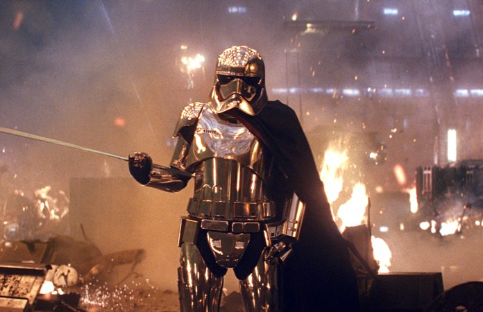 "This image shows Gwendoline Christie as Capt. Phasma in ""Star Wars: The Last Jedi."" (Lucasfilm via AP)"