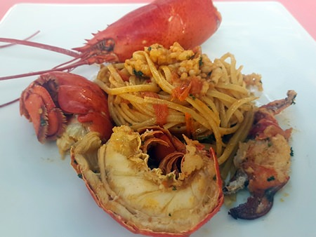 Whole Canadian lobster served with noodles sautéed with lobster ragout at Pan Pan.