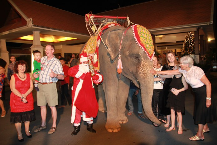 Thai Garden Resort featured Santa delivering gifts and blessings on an elephant.