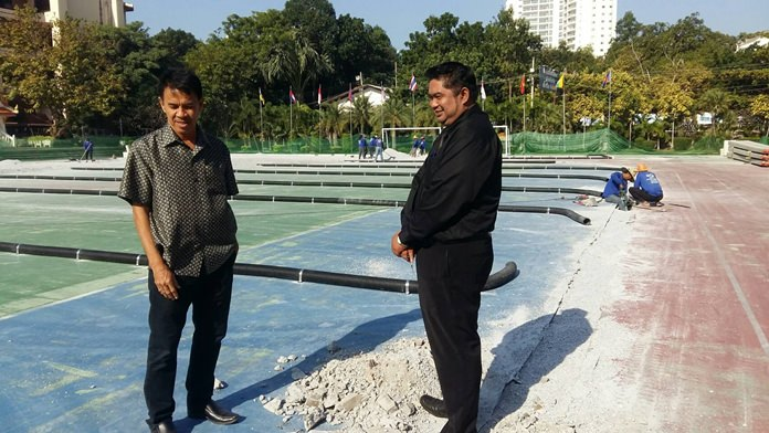 Directors of Pattaya School 9 follow up on the progress of the new football stadium.