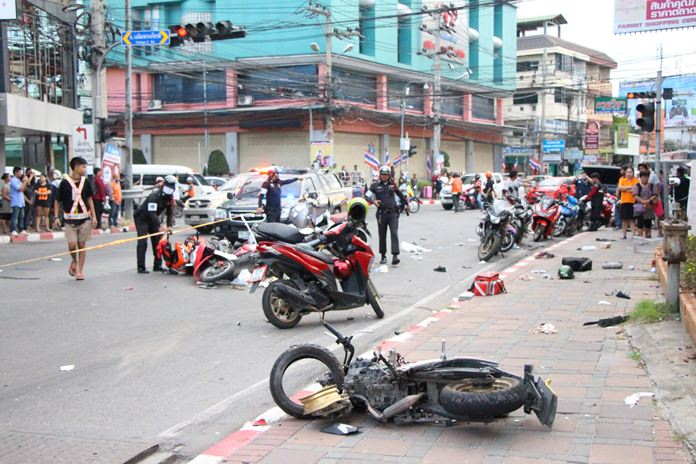 Two people were killed and 11 injured when a motorist suffered a seizure and plowed his pickup truck through a South Pattaya intersection.