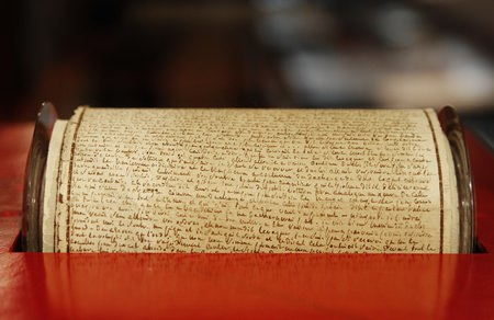 "The original manuscript of ""The 120 Days of Sodom or the School of Libertinage,"" by French writer Marquis de Sade is shown on display at an auction house in Paris, Tuesday, Dec. 19. (AP Photo/Christophe Ena)"