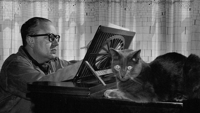 Alberto Ginastera and his cat.