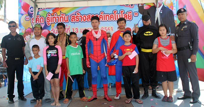 Pattana Boonsawat, secretary of the Windsurf Association in conjunction with Pattaya City Hall, Municipal Police and We Love Pattaya host a fancy dress party for the kids at the Jomtien Sports Arena.