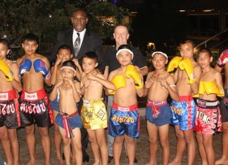 Frank Bruno with the boys from the Father Ray Children's Home.