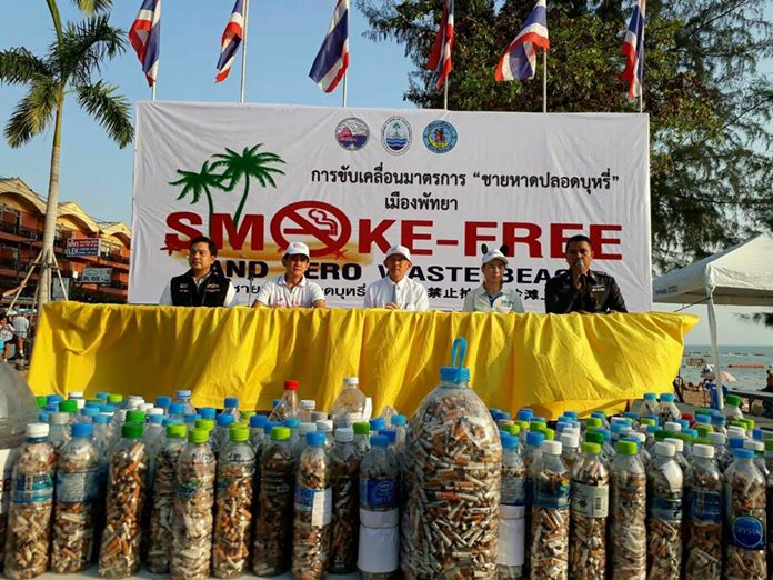 Enforcement of Thailand's ban on smoking on the beach begins Thursday, Feb. 1, and Pattaya officials are spending the final few days letting everyone know what's coming. Shown here, Mayor Anan Charoenchasri leads a quit-smoking event on Jomtien Beach with officials from the Disease Control Department, Pattaya police representatives, and Marine and Coastal Resources Management Office 2.