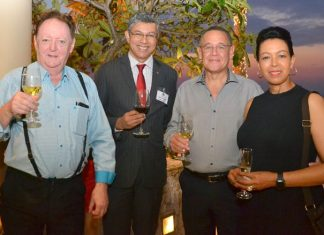 (L to R) Allan Riddell, Consultant to the board at SATCC, Ragil Ratnam, Chairman of South African-Thai Chamber of Commerce, H.E. Geoff Doidge, Ambassador South African Embassy Bangkok, and his wife Carol Doidge.