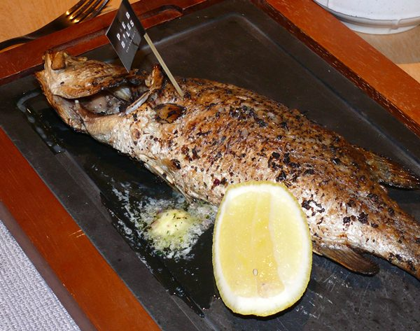 A grilled seabass for Madame.