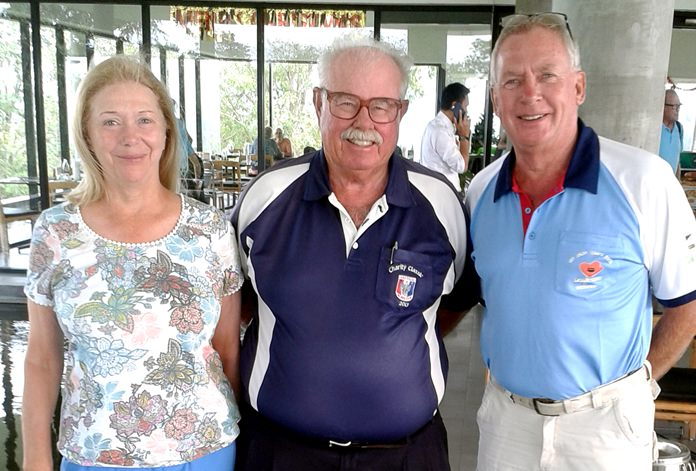 Karen Brown (left) and Peter Bygballe (right) with Dave 'The Admiral' Richardson.