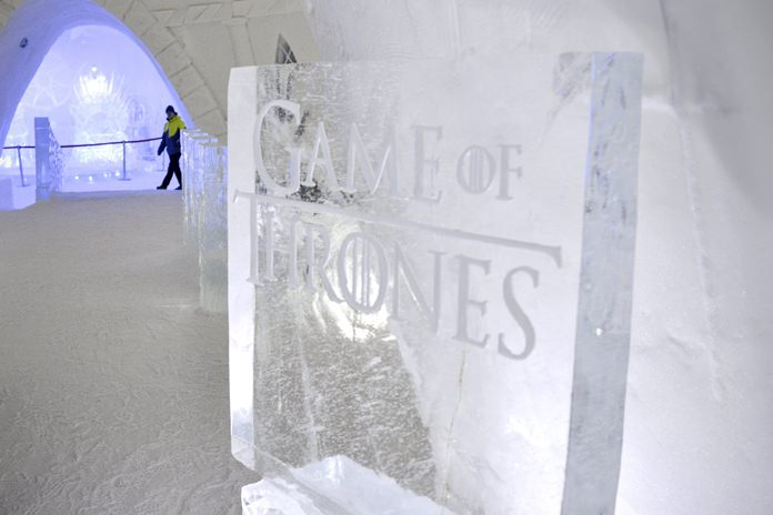 """Lapland Hotels said Friday they chose """"Game of Thrones"""" to be the theme for this season's Snow Village, an annual ice-and-snow construction project covering 20,000 square meters in Kittila, 150 kilometers above the Arctic Circle. (Aku H'yrynen/Lehtikuva via AP)"""