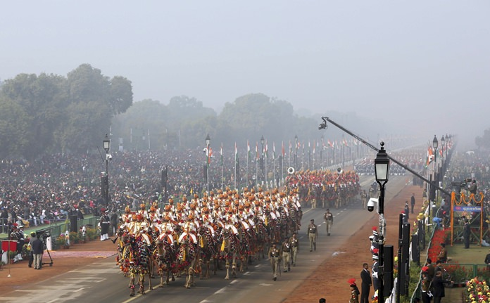 Camel mounted Indian Border Security Force soldiers march through Rajpath, the ceremonial boulevard, during Republic Day parade in New Delhi, India, Friday, Jan. 26, 2018. India marks Republic Day on Jan. 26 with military parades across the country. (AP Photo)