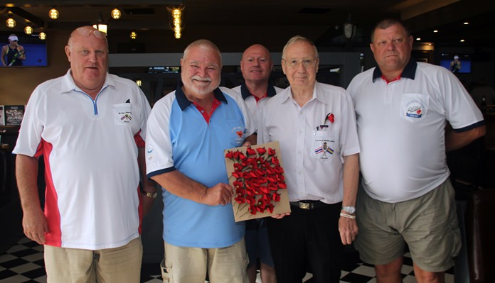 Andy Barraclough (2nd right) Chairman, Royal British Legion, Thailand, Chonburi Branch together with his champions of the 'Poppy Appeal'.