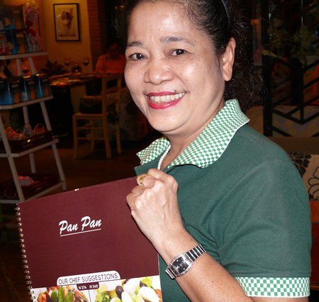 Khun Kamala with the photographic menu