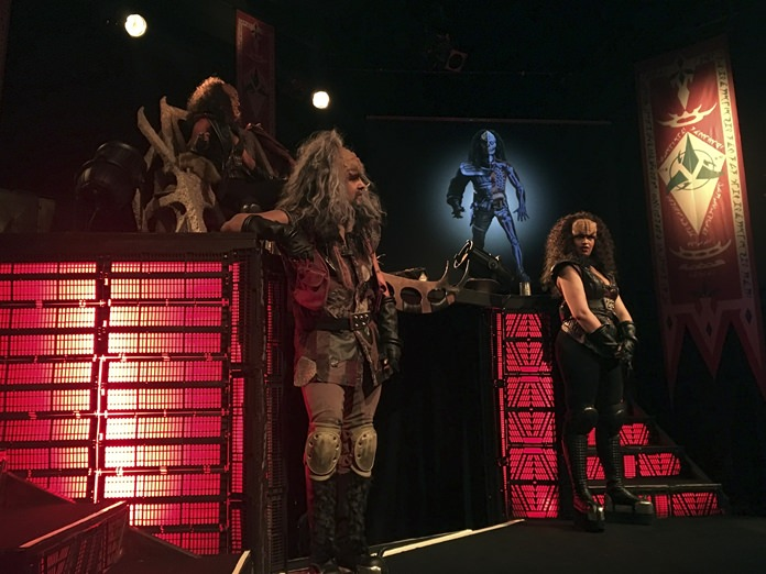'Klingon ambassadors' hold a presentation of Klingon culture at a theater in Stockholm, Saturday, Feb. 3. (AP Photo/David Keyton)