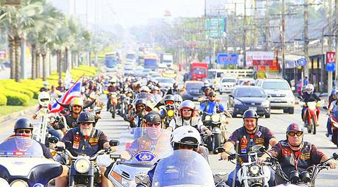 The ride for peace parade makes their way to the Chaiyapruek Stadium.