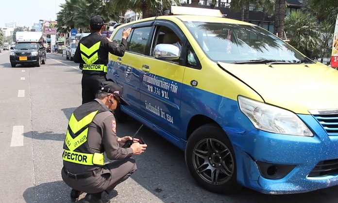 """The Chonburi Department of Land Transport launched a one-day """"crackdown"""" on Pattaya metered taxis after numerous complaints about overcharging."""