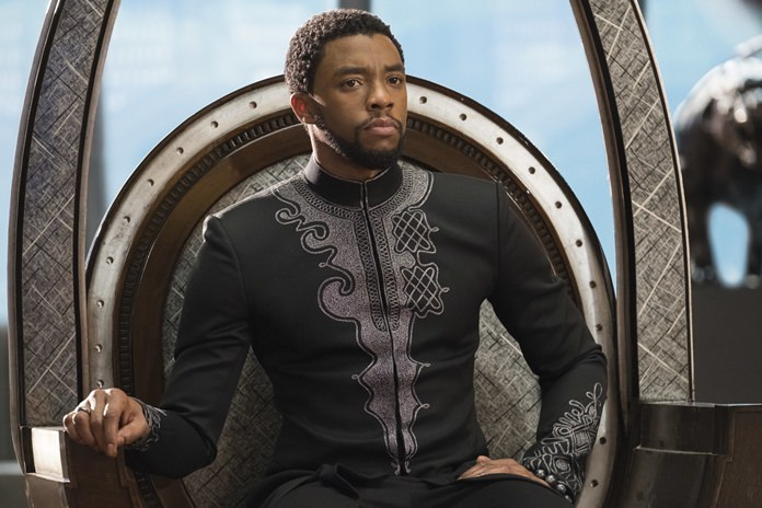 "This image released by Disney shows Chadwick Boseman in a scene from Marvel Studios' ""Black Panther."" (Matt Kennedy/Marvel Studios-Disney via AP)"