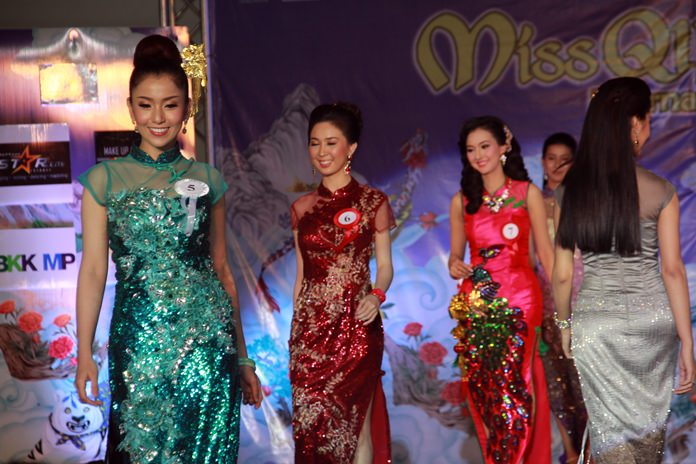 Gorgeous models compete in the Miss Qipao International semifinals at Central Festival Pattaya Beach.