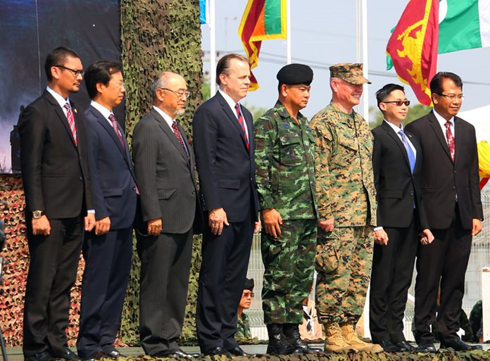 Adm. Tarnchaiyan Srisuwan, chief of joint staff for the Royal Thai Armed Forces, and U.S. Ambassador Glynn T. Davies opened the 37th annual Cobra Gold military exercise Feb. 13.