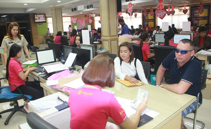 The Banglamung Administration Office was packed from 9am on Valentine's Day.
