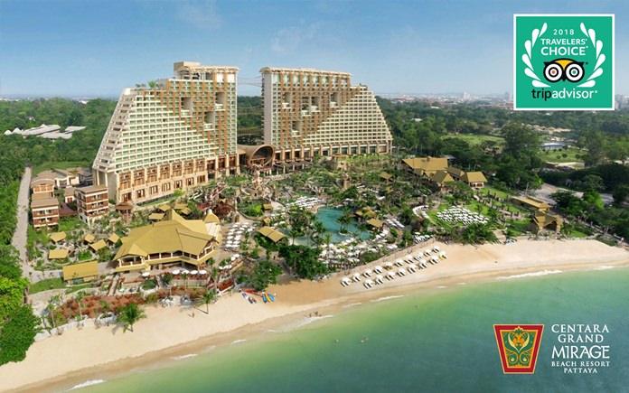 TripAdvisor has named Centara Grand Mirage Beach Resort Pattaya as the No. 1 Family Hotel in Thailand, and the No. 4 Family Hotel in Asia, in its 2018 Travelers' Choice Awards.
