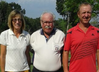 Carole Kubicki (left) and Kenneth Madsen (right) with Dave 'The Admiral' Richardson.