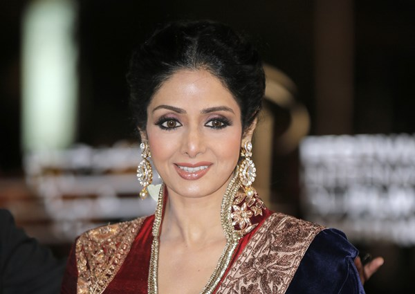 In this Dec. 1, 2012 file photo, Indian actress Sridevi arrives at the Marrakech International Film Festival in Marrakech, Morocco. (AP Photo/Lionel Cironneau)