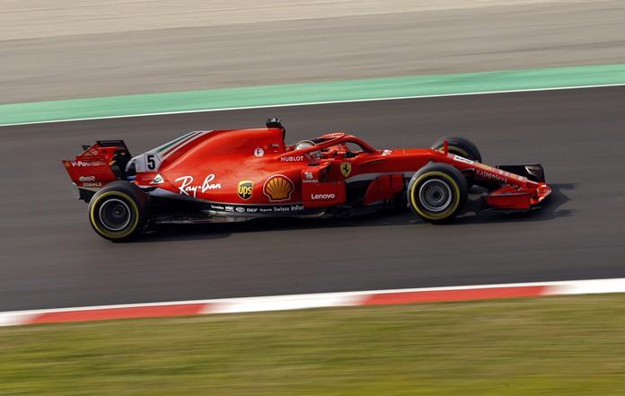 Ferrari driver Sebastian Vettel of Germany steers his car during a Formula One pre-season testing session at the Catalunya racetrack in Montmelo, outside Barcelona, Spain, Tuesday, Feb. 27. (AP Photo/Francisco Seco)