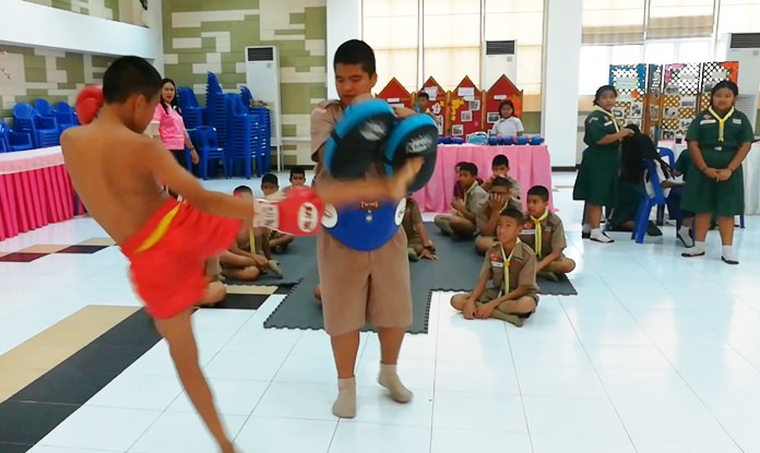 Students are given a chance to partake in Muay Thai boxing and other sports.
