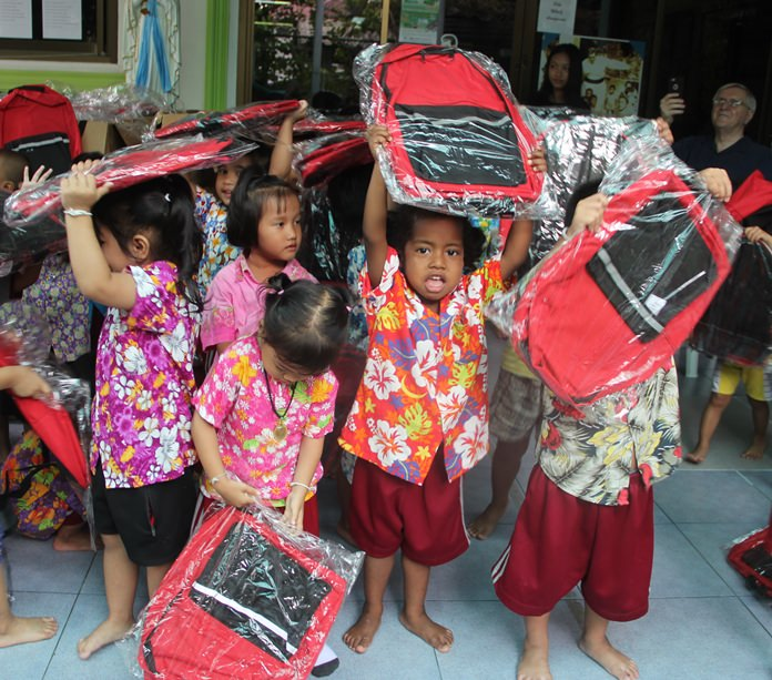 The youngsters with their new back packs.