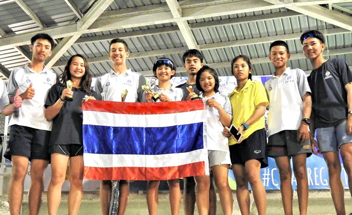 Thailand's youth sailors celebrate the national team's success at the Singapore Youth Sailing Championship 2018.