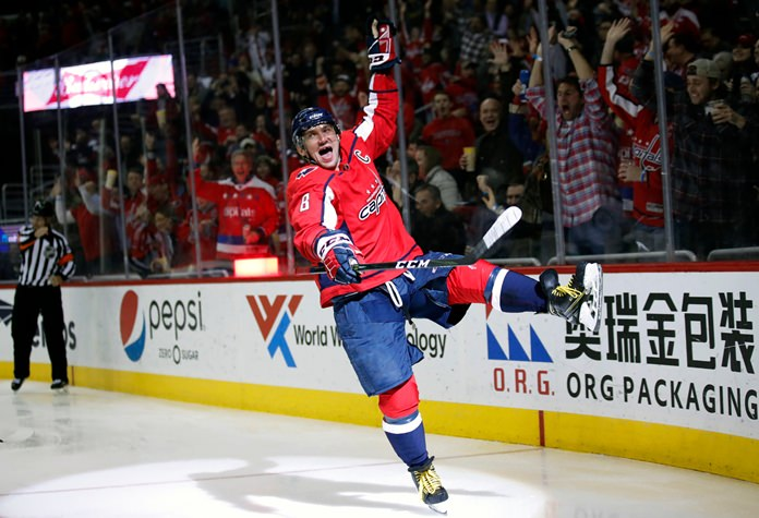 Washington Capitals left wing Alex Ovechkin celebrates his goal in the second period of an NHL hockey game against the Winnipeg Jets, Monday, March 12, in Washington. It was Ovechkin's 600th career goal. (AP Photo/Alex Brandon)