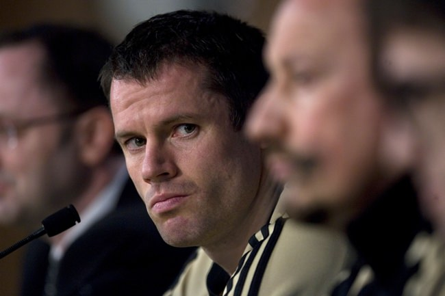 TV soccer pundit Jamie Carragher is shown in this Feb. 24, 2009 file photo. (AP Photo/Arturo Rodriguez)