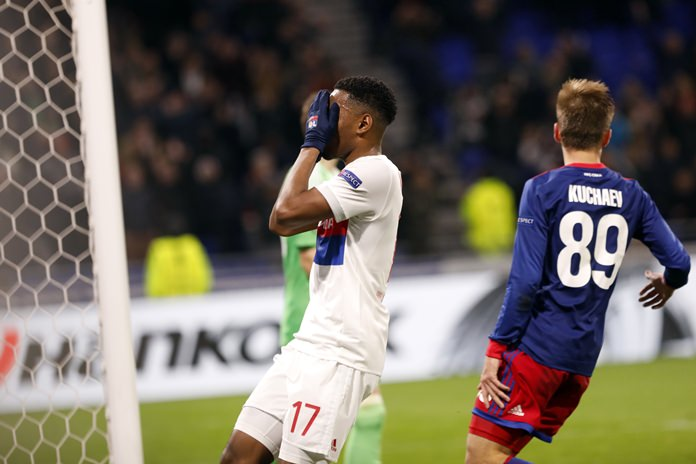 Lyon's Myziane Maolida reacts after he missed a goal during the Europa League, round of 16 second leg match against CSKA Moscow in Decines, near Lyon, central France, Thursday March 15. (AP Photo/Laurent Cipriani)